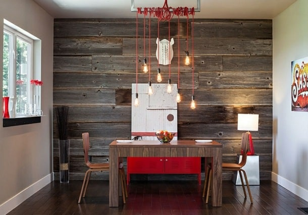 Salle à manger couleurs rouge chaleur cuisine cuisinier