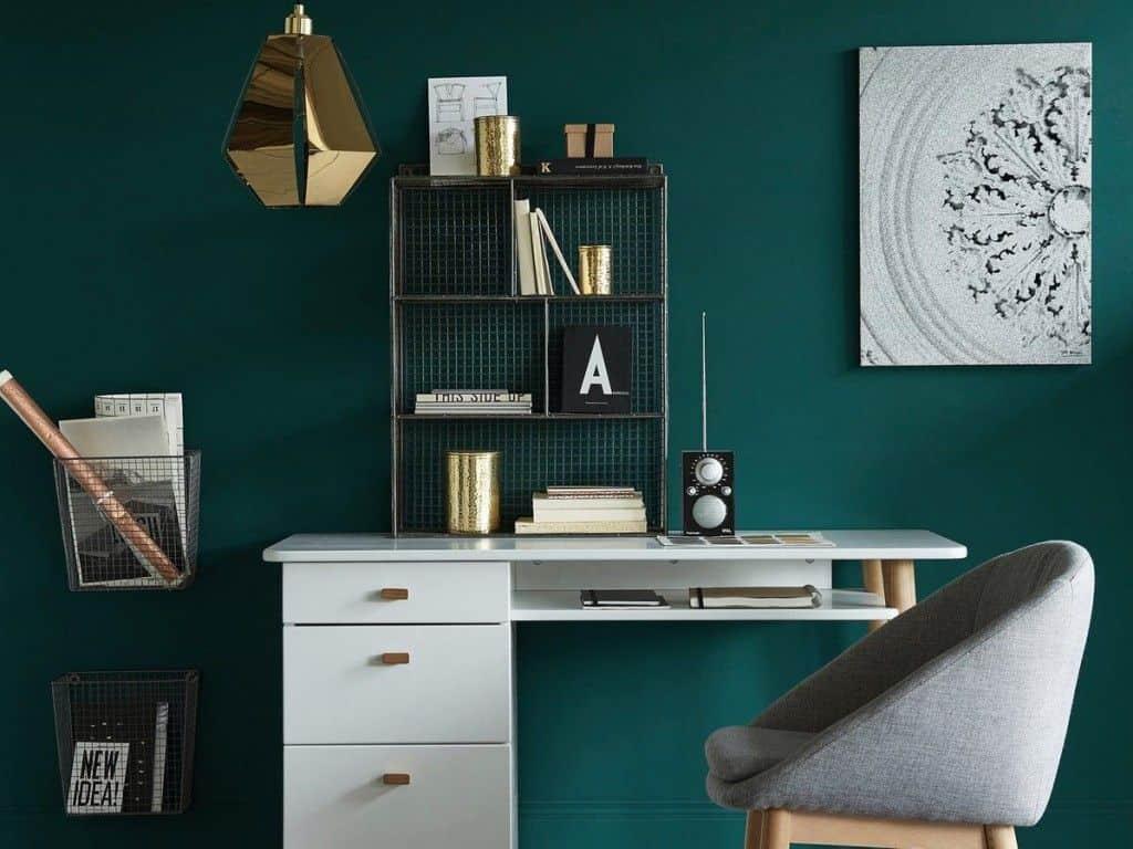 Bureau couleur vert concentration travail couleurs décoration maison