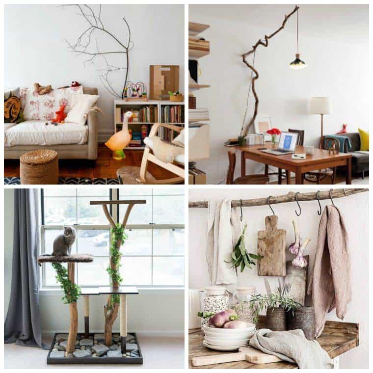 Branche bois chaud moderne mur lampe plantes décoration intérieur