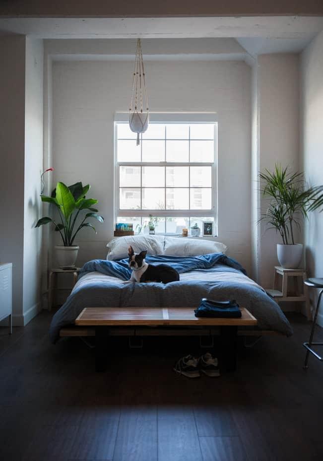 Chambre couleur bleu lavande froid calme décoration
